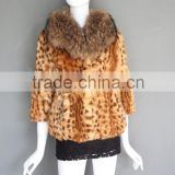 New fashion printed rabbit fur coat with real raccoon fur collar leopard print jacket fashion style