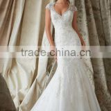 (MY1329) MARRY YOU Mermaid Wedding Gowns V-neck Cap Sleeve Lace Beaded Fish Cut Wedding Dress 2015