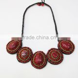 Red Agate Stone and Beads Wax cotton thread with mixed natural stone, Stone necklace WT40
