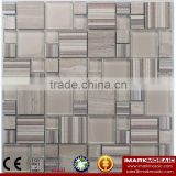 IMARK Wood Texture Glass Mosaic Mix Marble Mosaic Light Brown Color For House Backsplash Decoration