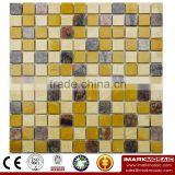 IMARK Mixed Granite Marble Stone ,Gold Marble and Travertine Marble Stone Mosaic Tile Backsplash Tile (IVM7-037)