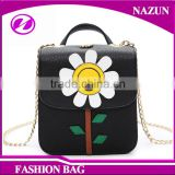 2016 customized new trendy ladylike sunflower ornament fashion classical black Faddish Crossbody Chain Bag