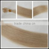 "Flat tip 20"" 15g light goden blond 24 color remy brazilian italy hot fusion protein keratin pre bonded human hair extension"