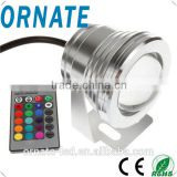 Top-selling waterproof ip68 stainless steel material rgb led underwater light 10w with flat lenes for swimming pool lighting
