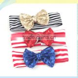 Fashion girls headwear headband elastic for babies big bow top kids stripe hair accessories factory direct wholesale