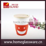 ceramic coffee mug with wooden lid for promotion