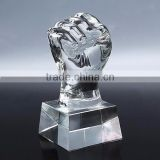 Wholesale custom fashion 2016 fist-clenched crystal hand trophy