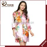 Kimono silk satin bridesmaid robe sleepwear for women LF0012