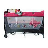 Red Portable Baby Trend Playpen With Big Canopy , Folding Children Cot
