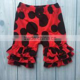 New arrival baby icing ruffle pants red black icing shorts toddler girl ruffle pants mouse prints wholesale ruffle pants