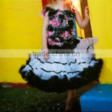 Gorgeous black white baby pettiskirt cheap tutu pettiskirt girls skirt wholesale tutu dress for girls party