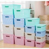 plastic woven bin storage range with 5 different size