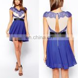 2016 Latest Design Royal Blue V-neck Sleeveless Short Prom Dress
