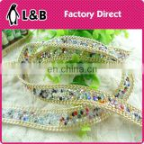 2015 newest ab color colorful crystal bead chain trim with glue for garments/shoes