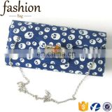 CR Sample available western styles jeans material envelpe shape skull pattern popular luxury denim fabric handbags