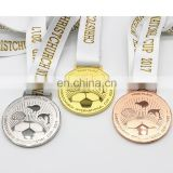 2017 Newest style good quality metal souvenir medals with custom ribbons