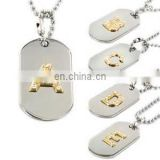 Crystal military dog tags necklace