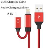 2 in 1 Converter Splitter Audio Charging Cable For Iphone X