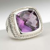 Sterling Silver Jewelry 15mm Amethyst Albion Ring(R-122)