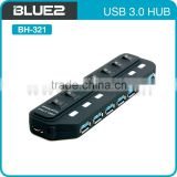 7 ports USB 3.0 HUB with independant buttons USB 3.0 HUB