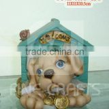 Polyresin dog house art money saving jar