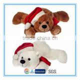 Custom white and brown christmas teddy bear plush toy with christmas hat