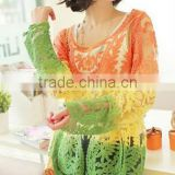 Instyles CASUAL LACE HOOK SUMMER LACE BLOUSE,COLORFUL LACE SMOCK boutique clothing Clothing