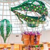 Mall shopping center style flowers design led light hanging decoration atrium shopping mall decoration