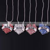 Jewelry wholesale MOM diamond heart-shaped Crystal pendant necklace alloy jewelry pendant