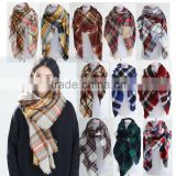 New Style Winter Woman Fashion Square Classical Plaid Wool Scarf