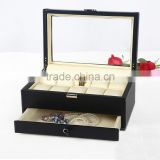 China unique design leather wrist watch g&p collection,double - layer watch box, faux leather watch holder