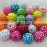 Chunky Mixed Colorful color resin rhinestone beads.Jewelry necklace ball beads for bubblegum necklace wholesale