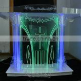 high qualtiy modern church pulpit with LED light, church pedestal pulpit, organic glass