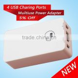 High quality 4 port mini cell phone super charger with LED switch button