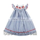 Lovely American flags hand smocked bishop dress