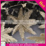 2014 Newest Maple leaf decorative lace trim fabric#1023 laser embroidery polyester mesh fabric