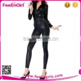 Cheap Sexy Black Leather Long Sleeve Bodysuits For Woman