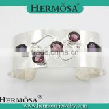 Hermosa Jewelry 925 Sterling Silver Mystical Amethyst Cuff Bracelets Bangles Jewelry Fashion Woman Gifts 2015