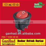 Round appliance rocker switch ON OFF&ON OFF ON circuit black color 3 pins electrical component