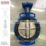 LAPAR International LPB Series Iron Butterfly Valve, Wafer Style, Nickel Plated Ductile Iron Disc, EPDM Seat, Lever Handle