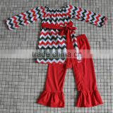 korean style toddler girls outfits kids ruffle chevron christmas clothes with belt