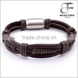 Alibaba Gold Supplier Unisex Genuine Leather Rope Cord Bracelet Bangle Wholesale for Christmas