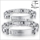 Power Stone Couples Bracelets CZ setting, health care titanium germanium ID bracelet                                                                         Quality Choice