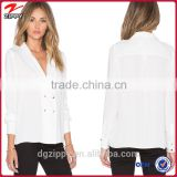 Fashion China wholesale long sleeves white chiffon blouses for woman                                                                         Quality Choice