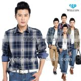 Chinese factory OEM wholesale 100% cotton European style long sleeve latest brand design casual plaid shirts for men