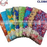 Newest arrival wax lace fabric with stone and flower patterns on sales, wax lace with sequencs single color