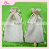 Custom drawstring jute/burlap bag with ribbon for wedding favor
