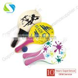 Promotional wholesale cheap wooden paddle beach racket set with ball