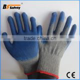 BSSAFETY 10g Protective Blue Latex Coated Household Safety Work Hands Gloves From China With Cheap Price