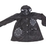 R-1022-1006 BLACK PU LONG RAIN JACKET FOR WOMEN